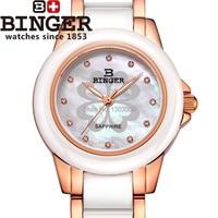 Fashion Genuine 2015 launch Miss BINGER woman watches female ceramic watch women brand luxury rose gold bracelet montre femme