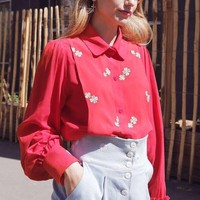 2019 spring new vintage style flower daisy embroidery women casual classic red blouse shirts