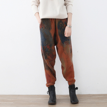 Johnature Women Wool Pants 2020 Spring New Elastic Waist Quality Pockets Print Floral Vintage Trouser Warm Women Harem Pants