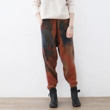 Johnature pantalones de lana para mujer, pantalón con cintura elástica, estampado Floral Vintage, cálido, harén, para Primavera, 2020
