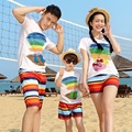 Beach Family Set Clothes Rainbow Cotton T-shirt+Quick Dry Shorts Family Clothing Sets Beach Family Matching Outfit 3XL MH7