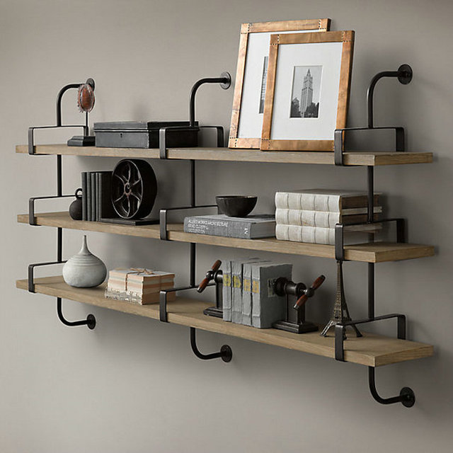 LOFT American Retro Pure Pine Wood Color Simple Wall Mounted Bookcase Ikea  Bookcase Shelf Specials