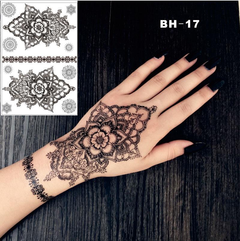 bh 17 hand drawing mandala black henna temporary tattoo. Black Bedroom Furniture Sets. Home Design Ideas