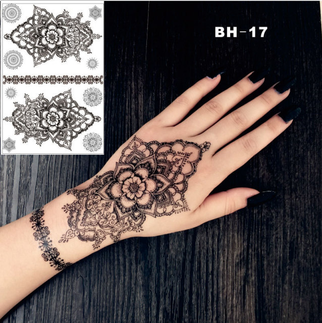 Bh 17 Hand Drawing Mandala Black Henna Temporary Tattoo Inspired