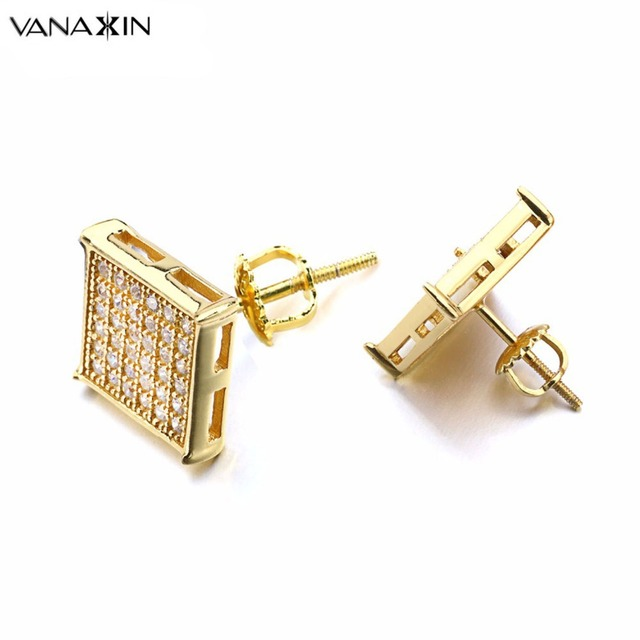 Vanaxin Punk Stud Earrings For Women Gold Silver Color Square 925 Cz Crystal Men