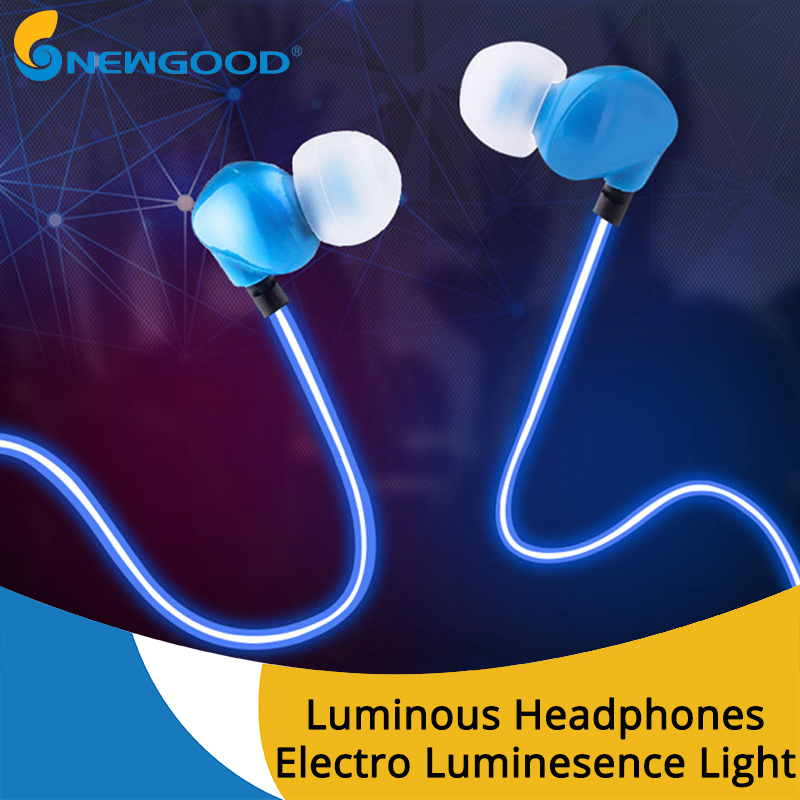 3.5mm In-ear Earphone Headphone Luminous Stereo Earphones With Microphone For Mobile Phone EL Night Light Glowing Headset Sport new glow in the dark earphones luminous night light glowing headset in ear earbuds stereo hands free with mic