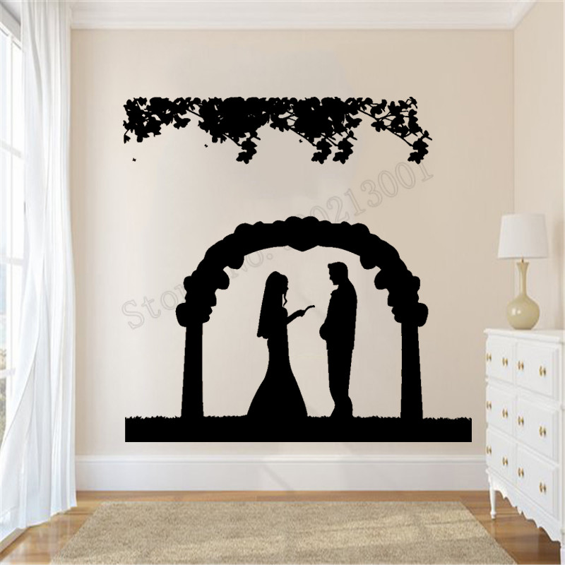 Groom Love Arch Flowers Wall Sticker Wedding Marriage Bride Poster Vinyl Art Design Ornament Beauty Removeable Decals LY926 in Wall Stickers from Home Garden