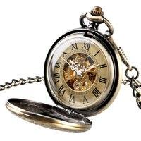 Men Retro Self Wind Chain Roman Numerals Stylish Gift Luxury Necklace Automatic Mechanical Women Pocket Watch