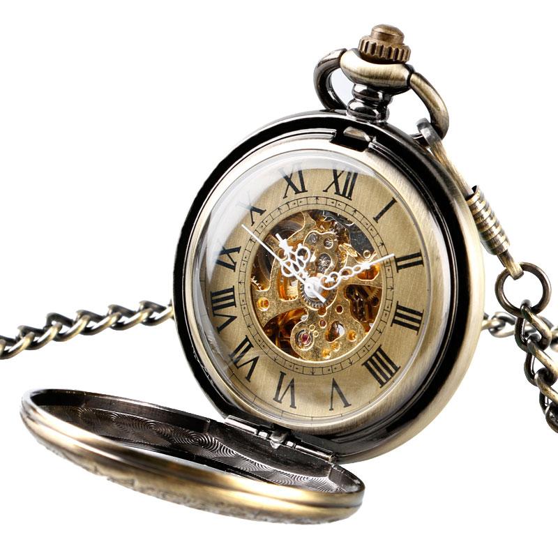 Men Retro Self Wind Chain Roman Numerals Stylish Gift Luxury Necklace Automatic Mechanical Women Pocket Watch Copper