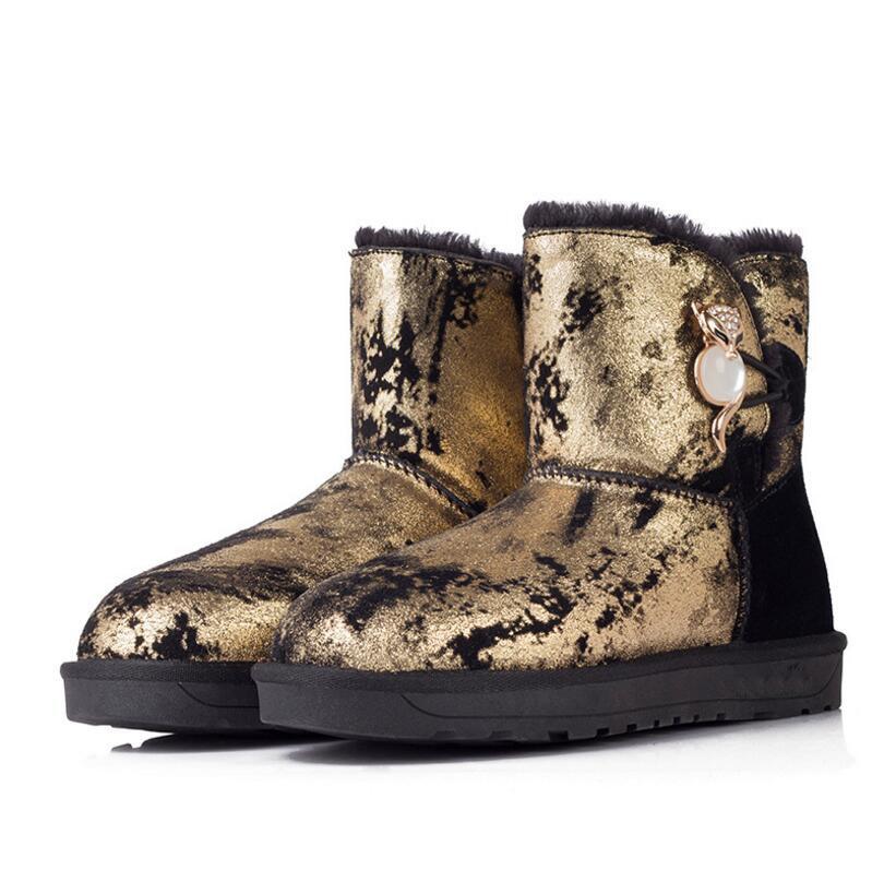 Nouvelle Hiver Imperméables Métal En Fontaine De Cuir Femmes Courtes Chaussures Neige Bottes Cheville 1 2 Chaud Antidérapantes Fox K4 Véritable rrCdq