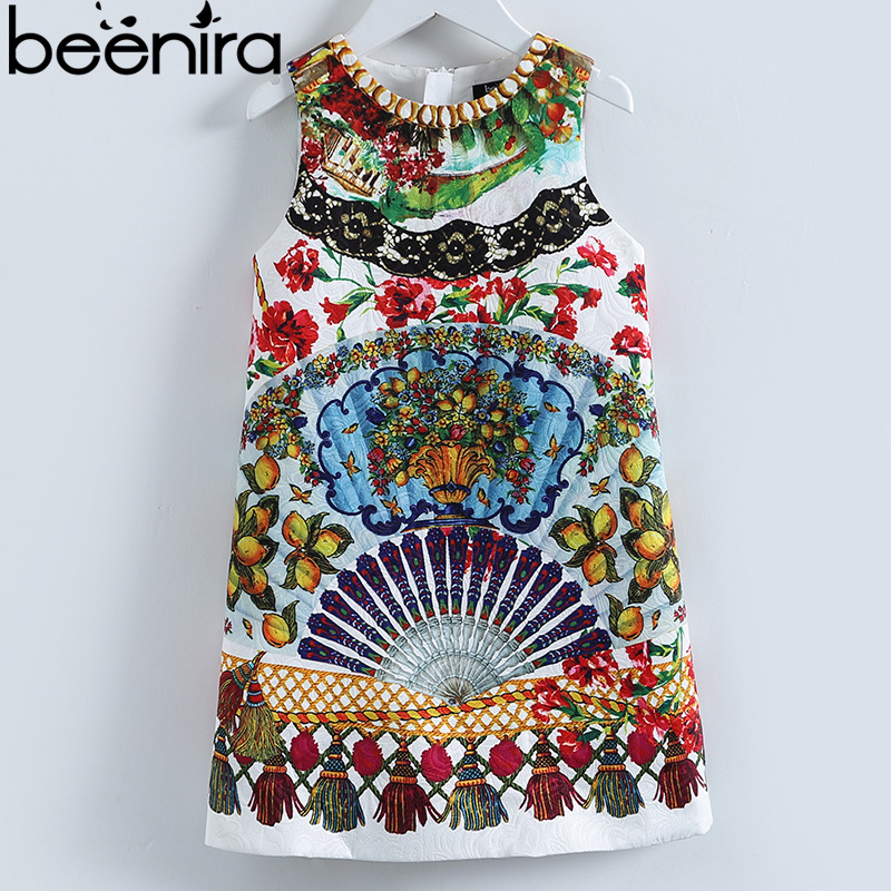 Beenira 2018 Girls Summer Dresses European And American Style Kids Sleeveless Pattern Printed Party Dress Children 14Years Dress retro style sleeveless tiger stripes printed mini dress for women