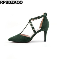Rivet Scarpin Plus Size Pointed Toe T Strap Stud Green Ladies 3 Inch Pumps Low Heels Summer Shoes Kitten High 12 44 Suede 11 43