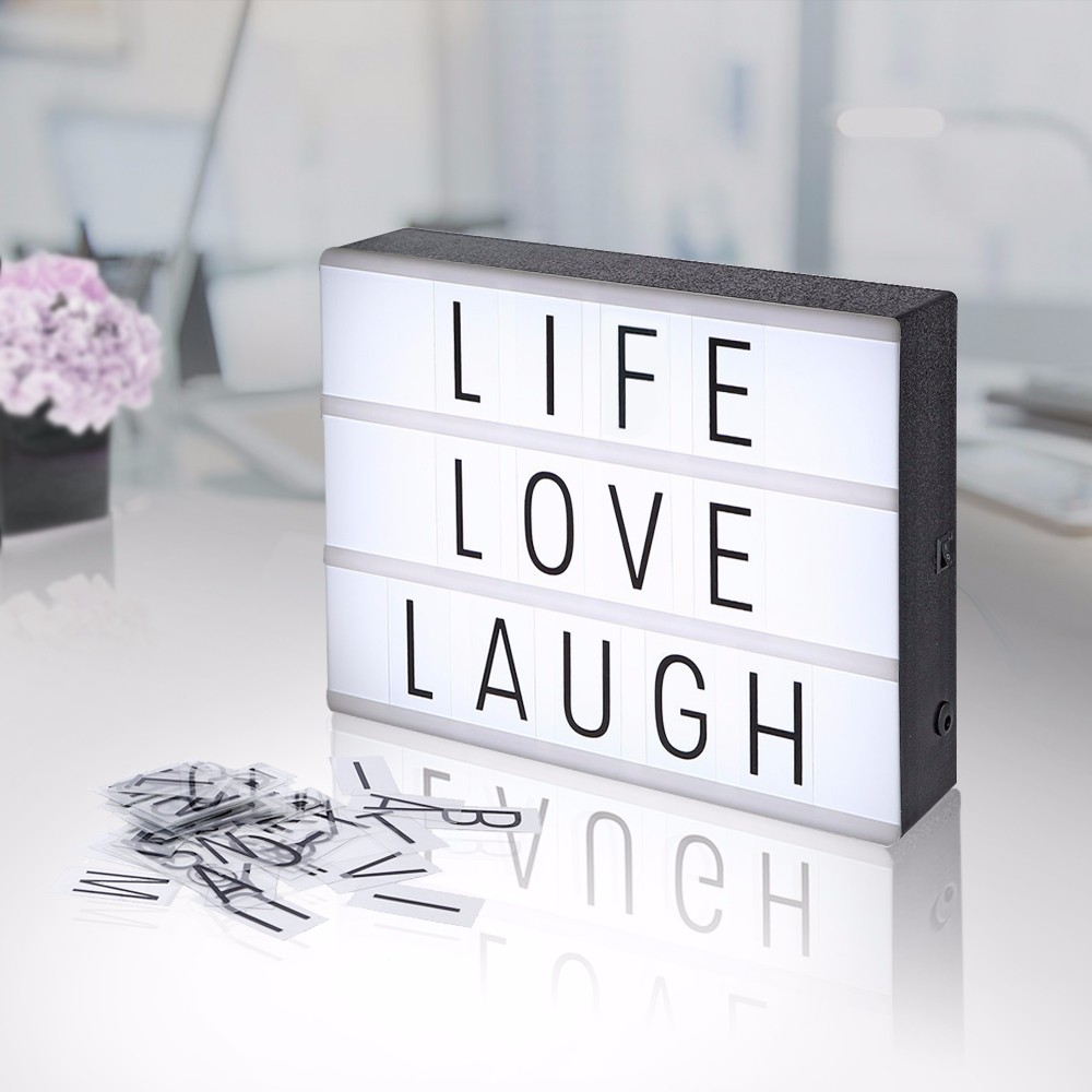Nuovo LED Cinema Light Box Luce di Notte Lampada A4 FAI DA TE USB Powered Cinematografica Lightbox Alfabeto Symbole Lettere Per Festa di Nozze Decor