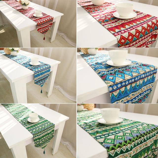 Burlap Table Runner Red Blue Green Europe Elegant Hessian Jute Cotton  Wedding Table