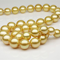 High quality 8-12mm Perfect round Natural shell gold pearl necklace +bracelet Fashion pearl jewelry Party jewelry Free shipping