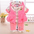 Fashion newborn baby girl kids clothes girls sets casual cotton long infant winter clothing china lace flower floral pink