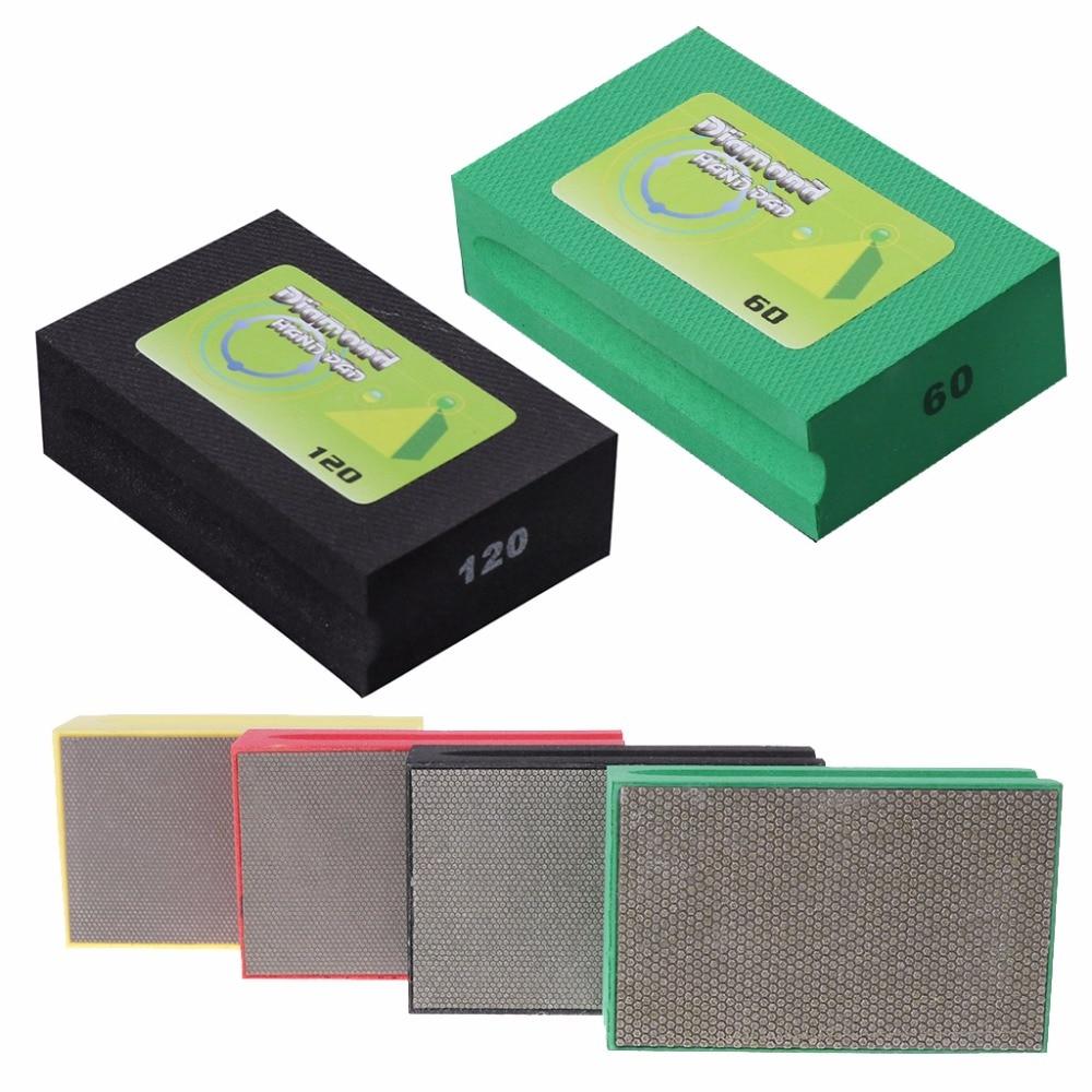 BENGU 60/120/200/400 Diamond Hand Polishing Pad Sanding Grinding For Glass Stone Marble 95x55mm