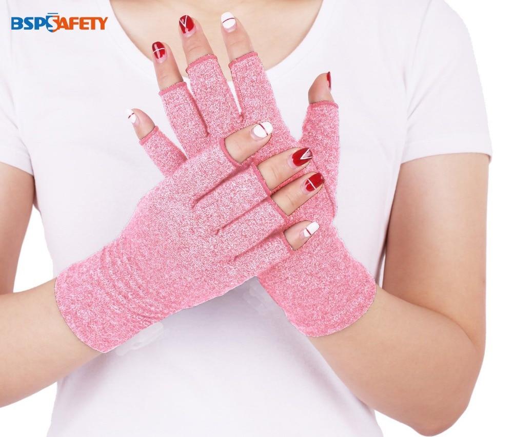 Rosa roxo senhoras artrite luvas de compressão