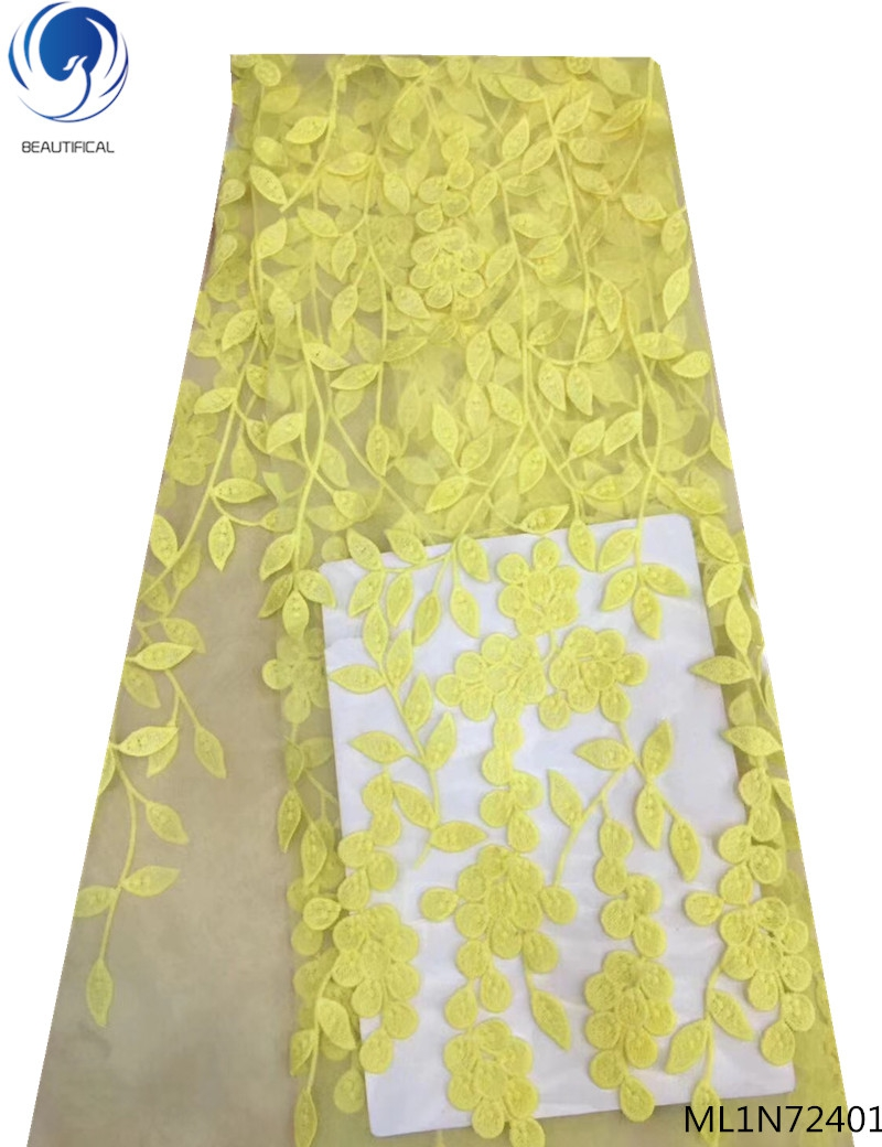 Beautifical french laces fabrics net laces dress 2019 yellow tulle lace fabrics Embroidered for women dresses