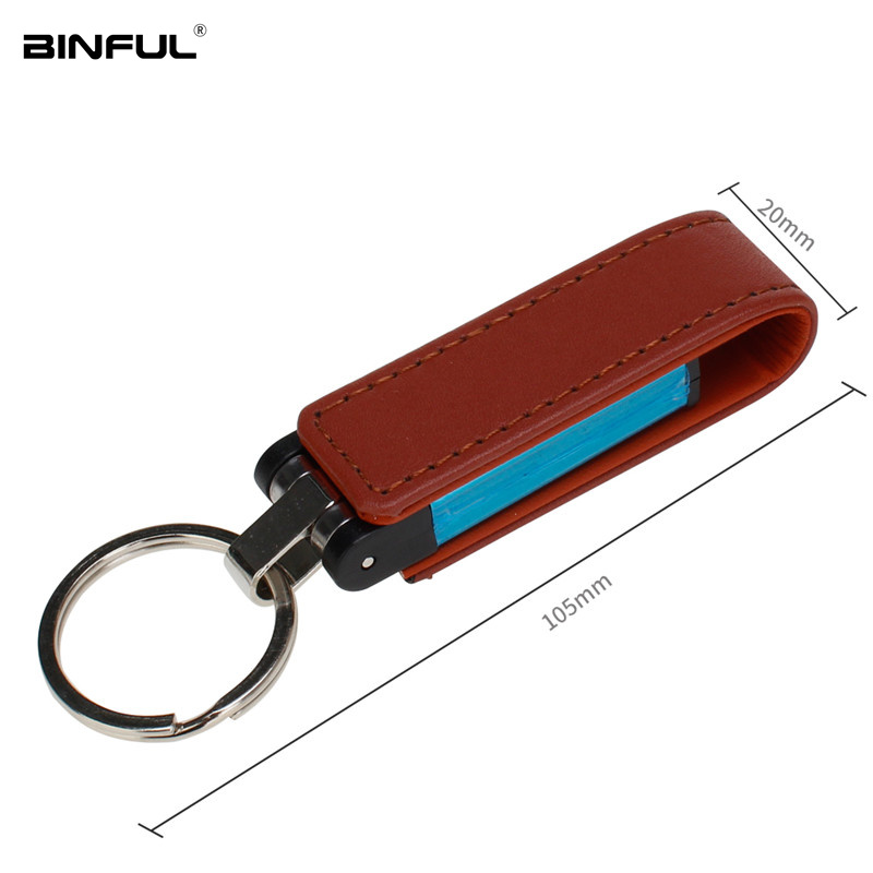 Image 3 - Usb Stick 32GB Pen Drive Leather Metal Keychain Usb Flash Drive 16GB 64GB 128G 4G 8G Pendrive High Speed U Disk Free Custom Logo-in USB Flash Drives from Computer & Office