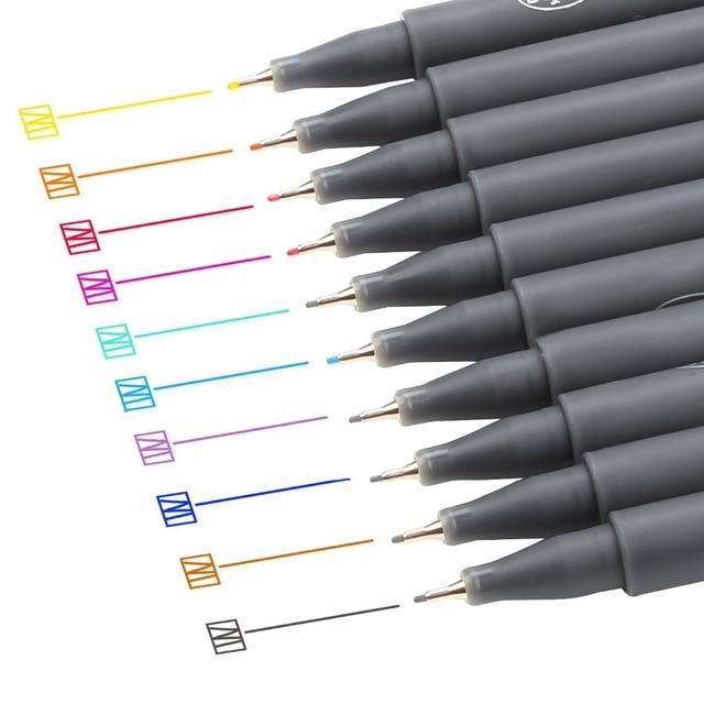 10 pcs micron color pen set 038mm fine line drawing pen porous fine