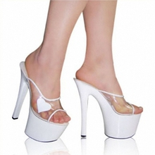 Women Gorgeous Summer Shoes 7 Inch Stiletto With Platform Stripper Shoes 17cm Heart-Shaped Clear Heels