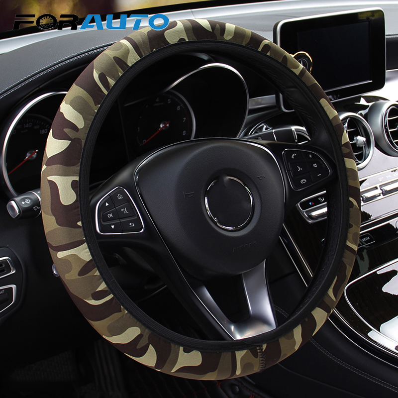 Car Styling SBR Lycra Steering Cover DIY Car Steering-wheel Cover Interior Accessories Camouflage Anti-slip Fit For Most Cars