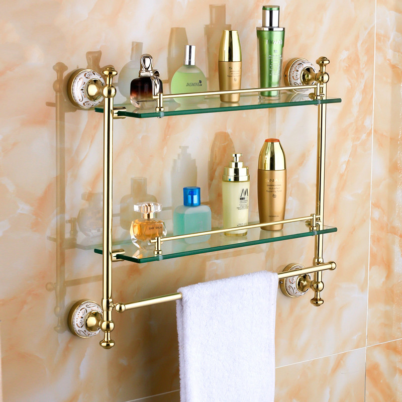 Antique Copper Gold Plated Double Glass Shelf Cosmetic Rack Bathroom Towel Rack Bathroom Accessories free shiping copper gold paint double layer glass shelf shelving bathroom shelf bathroom shelf gb012d 1