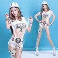 Леди Женщины Белый dj певица Ds хип-хоп джаз танец нагрудник брюки заклепки одежда Сексуальная Певица Джаз Хип-Хоп Танцевальные Костюмы наряды