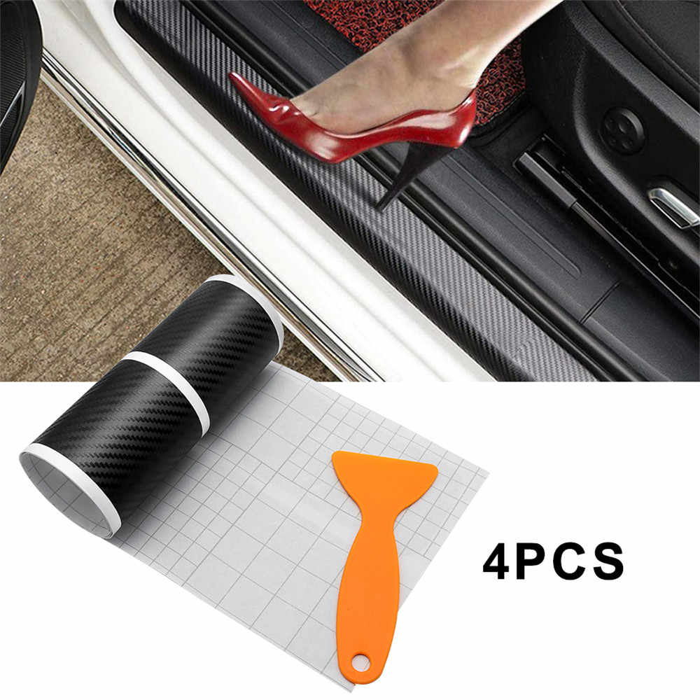 4x For Ford Fiesta 3D Carbon Fiber Car Door Sill Scuff Plate Protector Sticker