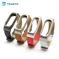 Teamyo Pulsera Xiaomi Mi Band 2 Strap For Mi band 2 Leather Screwless bracelet Replacement Smart Band Accessories miband 2 strap