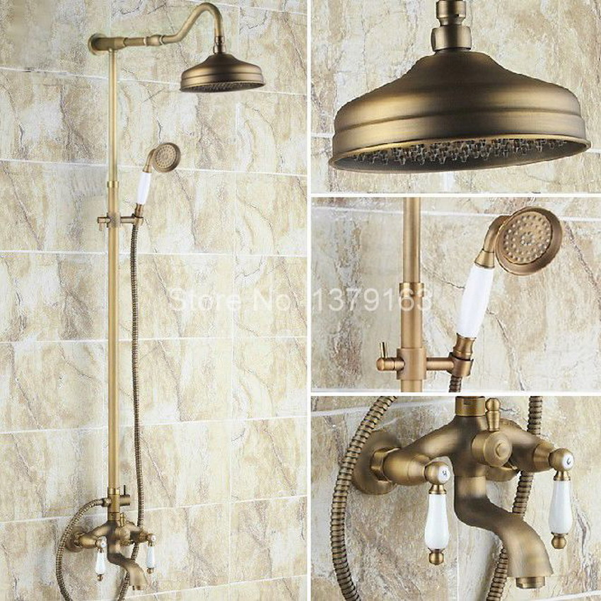 Luxury Bathroom Rain Shower Faucet Set Antique Brass Handheld Shower Head Two Ceramics Lever Bathtub Mixer Tap ars244  luxury bathroom rain shower faucet set antique brass handheld shower head two ceramics lever bathtub mixer tap ars003