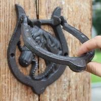 2 Cast Iron Door Knocker Horse Head with Handle Western Cowboy Horseshoe Door Latch Metal Home Door Gate Decor Vintage Crafts