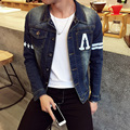 2016 New Arrival Spring Autumn High Fashion Men's Casual Slim Long Sleeve Single Breasted Blue Letter Pattern Denim Jacket M-5XL