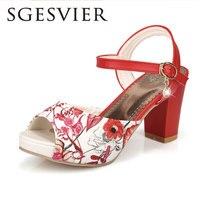 SGESVIER Women Sandals 2017 Summer New Sweet Party Elegant Peep Toe Buckle Platform Square Heel Lady