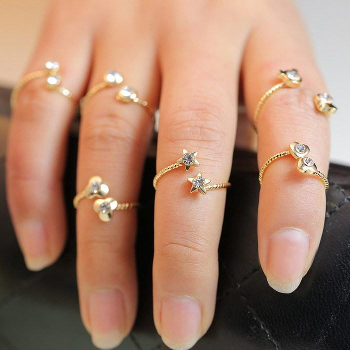 6Pcs/lot Knuckle birthstone rhinestone joint anel Finger Ring for ...