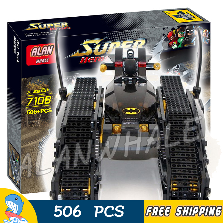 506Pcs Super Heroes Batman Movie Bat Tank The Riddler and Bane's Hideout 7108 Model Building Blocks Toys Compatible with lego building blocks super heroes back to the future doc brown and marty mcfly with skateboard wolverine toys for children gift kf197