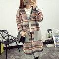 2016 New Arrival Fashion Retro Striped Women Cardigan Sweater Pocket Long Knit Cardigan Autumn Winter Casual Sweater C900