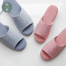 POSEE Cotton Linen slippers Soft Flax House Spring summer Striped Bedroom Women Slippers Indoor Shoes For Woman 0992