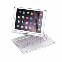 360 Rotation Aluminum Alloy 7 Color Backlit Wireless Bluetooth Keyboard Smart Case Cover For IPad Pro