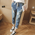 Spring fat MM large size ladies 200 pounds BF Style loose ankle-length pants ripped jeans for women stripe Harlan pants MZ1291