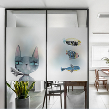 Nordic ins cat fish frosted glass stickers Bathrooms balcony door windows electrostatic transparent film opaque