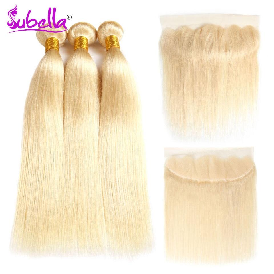 Subella индийские волосы прямые волна 613 русый 100% человеческих волос 13*4 Связки с фронтальной человеческих волос