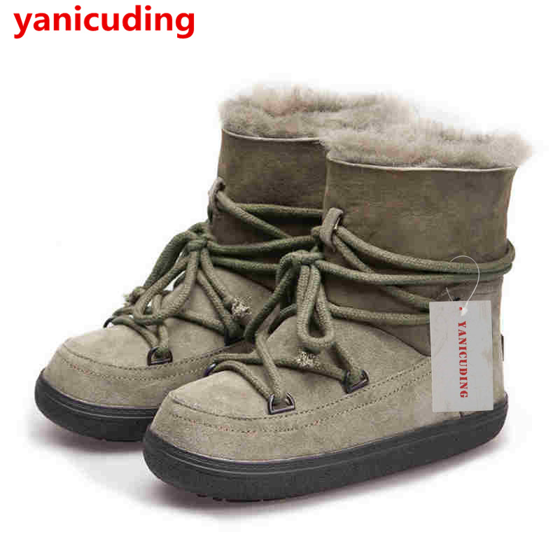 Round Toe Fur Women Snow Boots Lace Up Short Booties Fashion Flats Korea Stylish Winter Warm Shoes Ankle Boots Luxury Brand Shoe designer luxury designer shoes women round toe high brand booties lace up platform ankle boots high quality espadrilles boot
