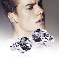 LE PAPILLION 925 Sterling Silver Men Earring Fine Jewelry Personality Unisex Round Crystal Stud Earrings Pendientes