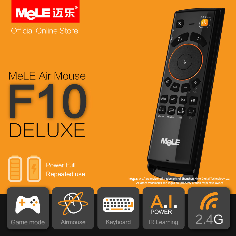 Fly Air Mouse Wireless Keyboard Remote Control MeLE F10 Deluxe 2.4GHz 6 Axial Gyro Game IR Learning Functions for Mini PC TV Box