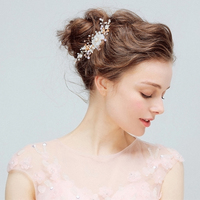 1pc Lot Crystal Rhinestone Women Wedding Jewelry In The Hair Pink White Flower Bridal Party Hair