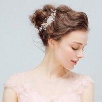 1 sztuk/partia Kryształ Rhinestone Biżuteria Ślubna Kobiet We Włosach Różowy Biały Kwiat Bridal Party klips Do Włosów Akcesoria Elegancki Złota