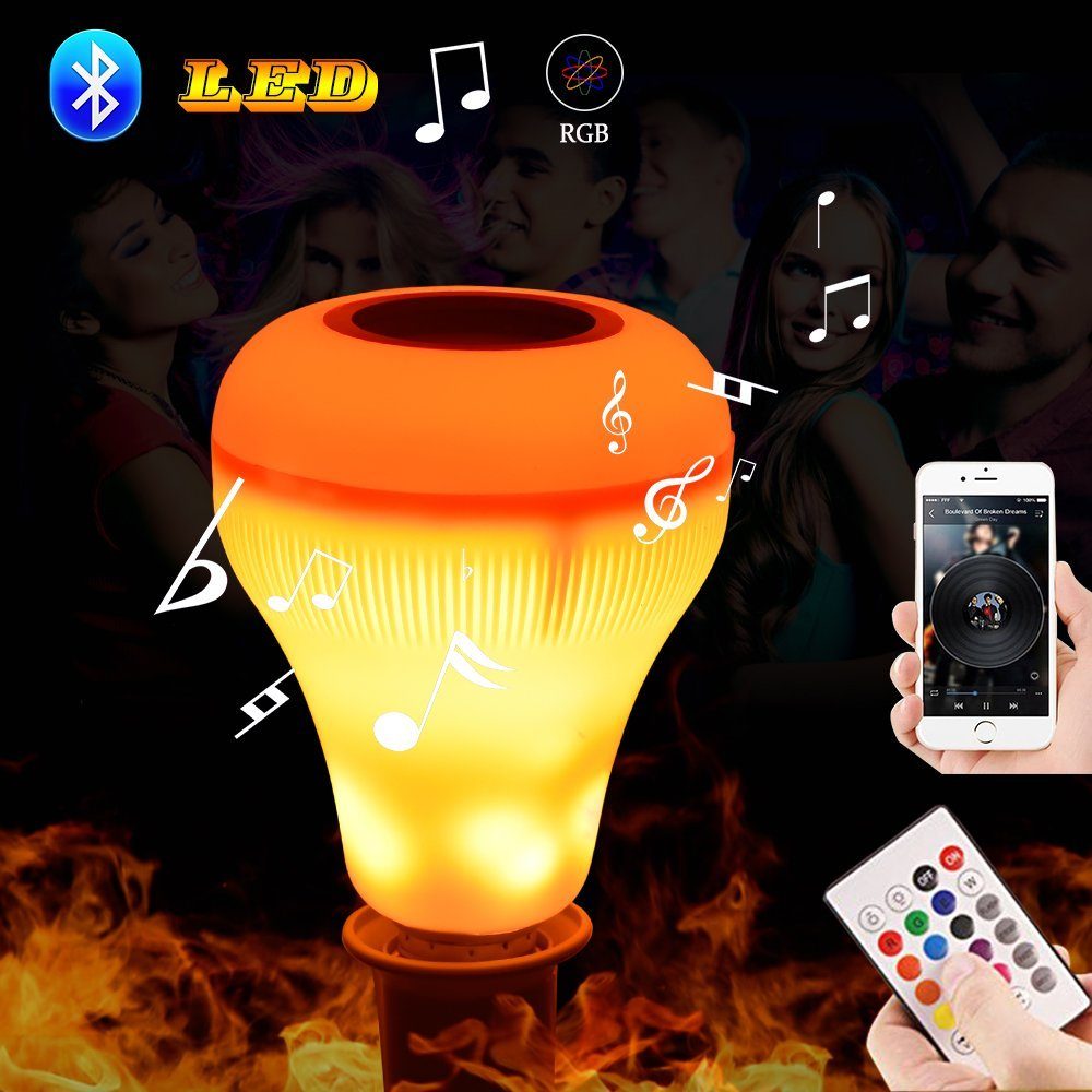 Led Music Speaker Light Bulb with Flame Effect Light 10W RGB Changing Lamp Wireless Stereo Audio with 24 Keys Remote Control