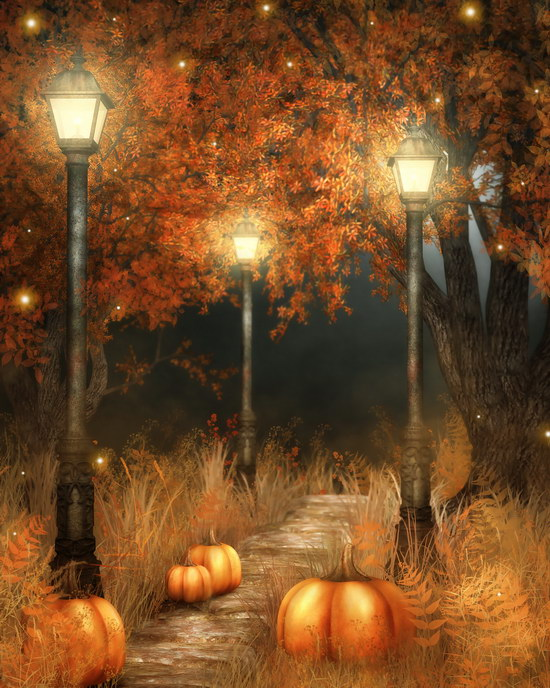 Halloween forest photo backdrop vintage lamppost pumpkin lamps photo backgrounds for photo studio photographer props photophone 7 5ft halloween theme photography backgrounds full moon pumpkin black raven haunted house photo backgrounds for studio props